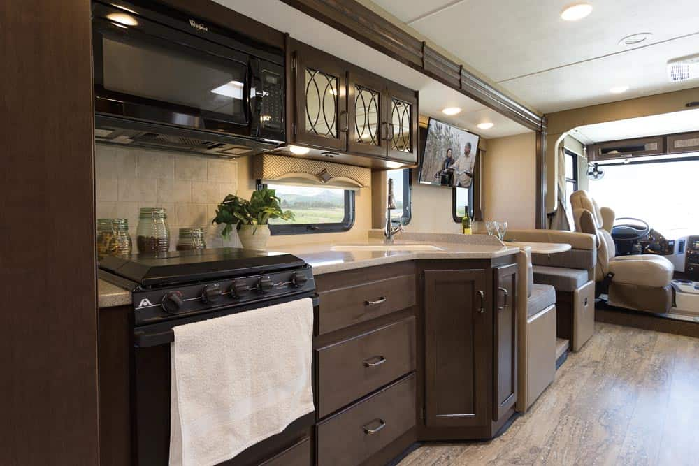 Kitchen area in a 5th wheel trailer and class A motorhomes